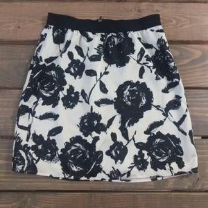 LOFT floral print lined skirt